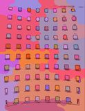 Colorful abstract background. Boxes stock illustration