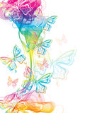 Colorful abstract background with butterfly. And wave vector illustration