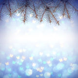 Colorful abstract background. Colorful Christmass background with fir branch frame Royalty Free Stock Image