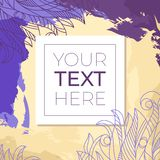 Colorful abstract background with copy space in square frame. Grunge background with floral doodle with place for your text. Vecto royalty free illustration
