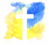 Colorful abstract background with cross. In watercolor style Stock Images