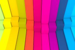 Colorful abstract background with cube on the box. 3d illustration royalty free illustration