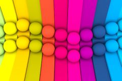 Colorful abstract background with cube and sphere. 3d illustration stock illustration