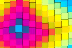 Colorful abstract background with cube and wave. 3D illustration stock illustration