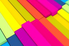 Colorful abstract background with cube and wave. 3D illustration royalty free illustration