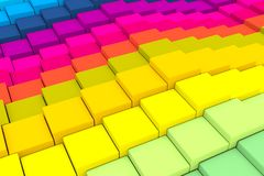 Colorful abstract background with cube and wave. 3D illustration vector illustration