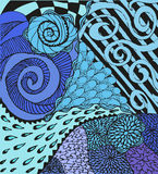 Colorful abstract background with doodling hand Stock Image
