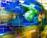 Colorful abstract background with Earth. Earth moving on blurred background Stock Photography