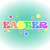 Colorful abstract background with Easter lettering on blue background. Easter poster, sticker or symbol in cartoon style. Colorful abstract background with stock illustration