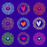Colorful abstract background hearts in round bright frames. Vector illustration royalty free illustration