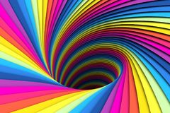 Colorful abstract background lines black hole. 3d illustration Stock Photo