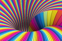 Colorful abstract background. Lines black hole 3d illustration Stock Image