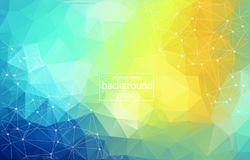 Low poly connecting and dots background. Vector tech design. Colorful abstract background. Abstract polygonal background with connecting dots and lines stock illustration