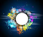 Colorful abstract background with rainbow. Colors and a white circular shape for your text Stock Images