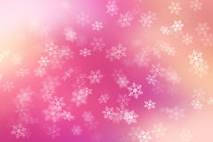Colorful abstract background with snow flake falling.  Stock Image