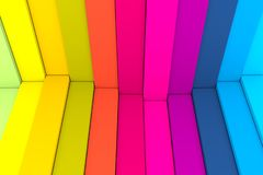 Colorful abstract background with stairs wave box. 3d illustration royalty free illustration