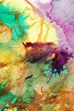 Colorful abstract background. Unique abstract background created by blowing with compressed air  green,  yellow and purple paints onto a surface Royalty Free Stock Photo