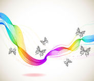 Colorful Abstract Background With Butterfly And Wave Stock Photos