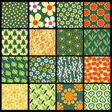 16 Colorful Abstract Backgrounds: Flower. Set of 16 Floral Vector Background Patterns Royalty Free Stock Image