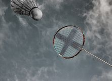 Colorful abstract badminton racket and shuttlecock sky blue. Stock Image