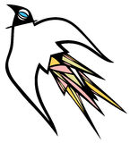 Colorful abstract bird. Abstract bird with colorful feathers stock illustration