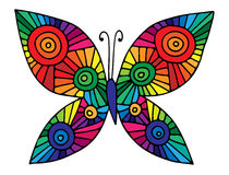 Colorful abstract butterfly for greeting card, coloring book, in Royalty Free Stock Photography