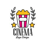 Colorful abstract cinema or movie logo template creative design with popcorn, stars and laurel branches. Flat line style. Colorful abstract cinema or movie logo Royalty Free Stock Images