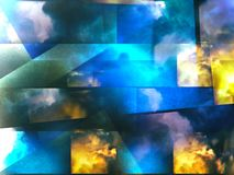 Colorful abstract clouds. Colorful clouds with overlapping rectangular layers Stock Photos