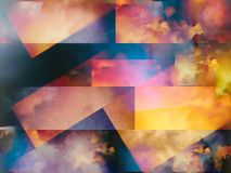 Colorful abstract clouds. Colorful clouds with overlapping rectangular layers stock illustration