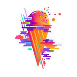 Colorful abstract composition with ice cream. Modern rounded stripes, gradients and actual elements. Vector illustration stock illustration