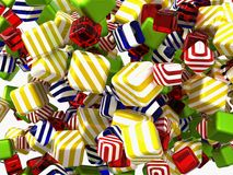 Colorful Abstract cubes or candies isolated. Over white background Stock Photo