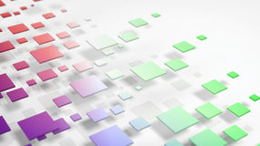 Colorful abstract cubes flying over white background. 3D rendering of colorful cubes flying on white backround Stock Photos