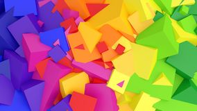 Colorful abstract 3d background with cubes and rainbow colors. 3d illustration of an abstract background made of rainbow colored cubes Stock Photos