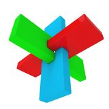 Colorful abstract 3D shape. Isolated render on a white background Royalty Free Stock Image