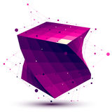 Colorful abstract deformed vector squared object with lines mesh Royalty Free Stock Image