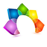 Colorful abstract design. Colorful, half circle 3d, abstract design on a white background Stock Photo