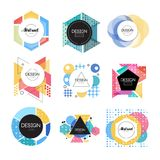 Colorful abstract design logo set, geometric shape signs vector Illustrations. On a white background Stock Photos