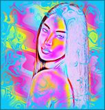 Colorful Abstract digital art image of a woman's face close up. Stock Photo