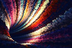 Colorful abstract digital background. Empty bent triangulated tunnel, 3d render illustration Stock Photo