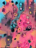 Colorful abstract digital painting. On canvas texture Royalty Free Stock Photos
