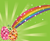 Colorful abstract easter background. Abstract colorful background with rainbow and easter eggs Royalty Free Stock Image