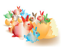 Colorful abstract Easter bunnies Royalty Free Stock Image