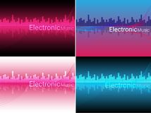 Abstract Electronic Music Background Illustration. 4 Colorful Abstract Electronic Music Background Royalty Free Stock Image
