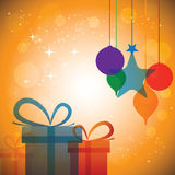 Colorful abstract festive celebrations with gift boxes & baubles. Vector. The concept graphic can represent festivals like christmas or xmas, new year Royalty Free Stock Image