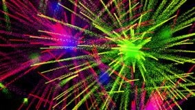 Colorful abstract fireworks on black bg, loop vector illustration