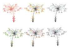 Colorful abstract fireworks like trees.Vector Stock Photos