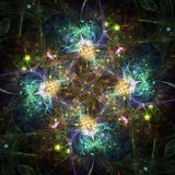 Colorful abstract fireworks or snowflake. Digital fractal art Stock Photos