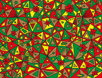 Colorful abstract fish pattern in green, red, light brown and yellow colors Stock Images