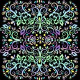 Colorful abstract floral pattern, vector wicker ornament. Multicolor ornate tracery in eastern style with a lot of curls, arabesqu. E, decor element, print Royalty Free Stock Image