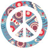 Colorful Abstract Floral Peace And Love Sign. Vector Image For Design Stock Photo